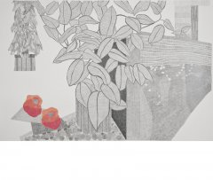 2011 Pomegranate, gouache, ink, pencil on paper, 100 x 150 cm