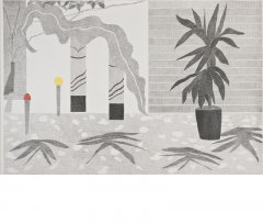 2011 Yucca with two pillars, gouache, ink, pencil on paper, 100 x 150 cm